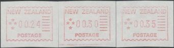 NZ Frama 1984 Trial Issue, set of three button values (24c, 30c, 35c)
